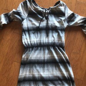 Black white gray striped cotton dress .